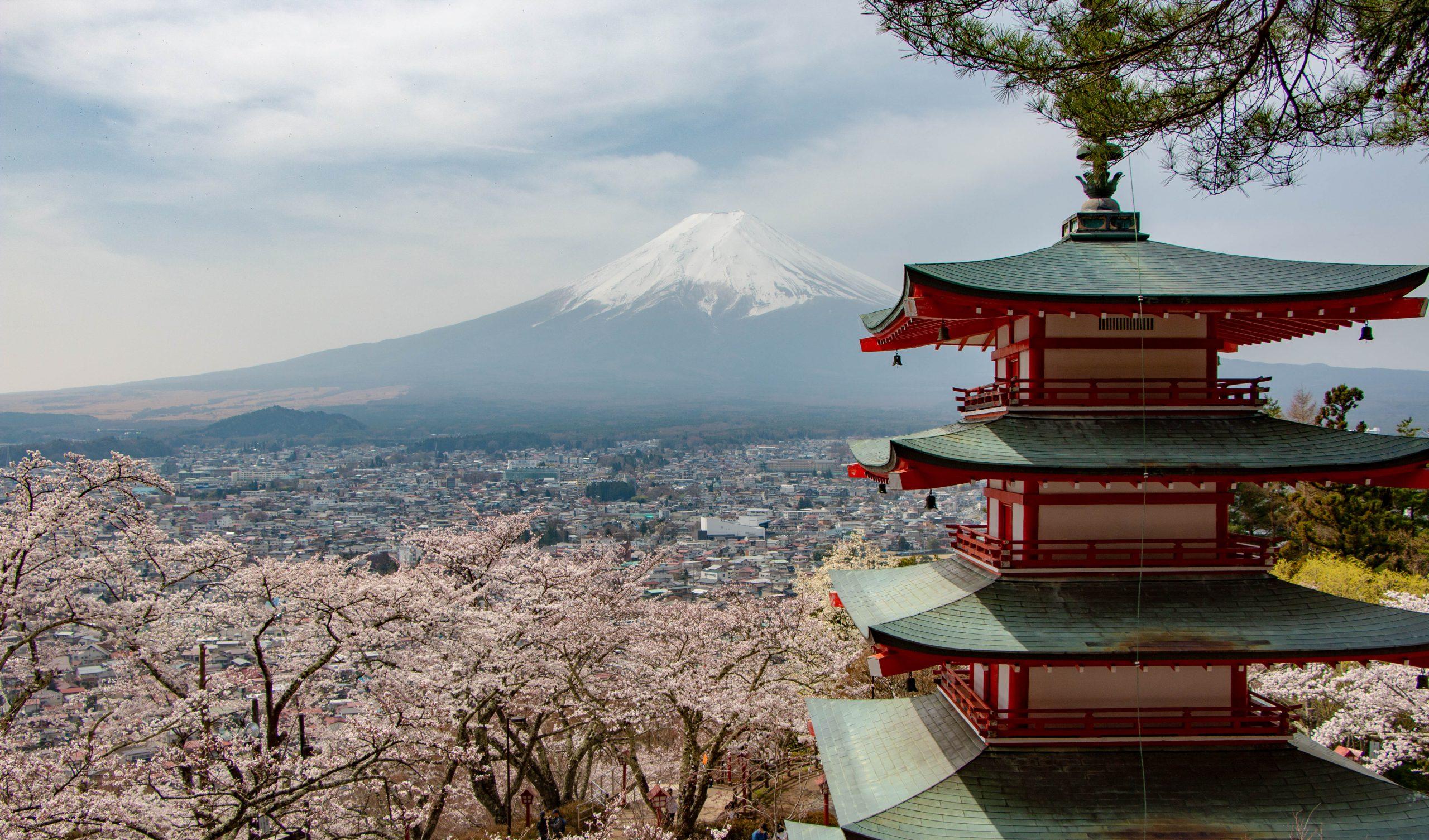 Viewing Mount Fuji from Fujiyoshida
